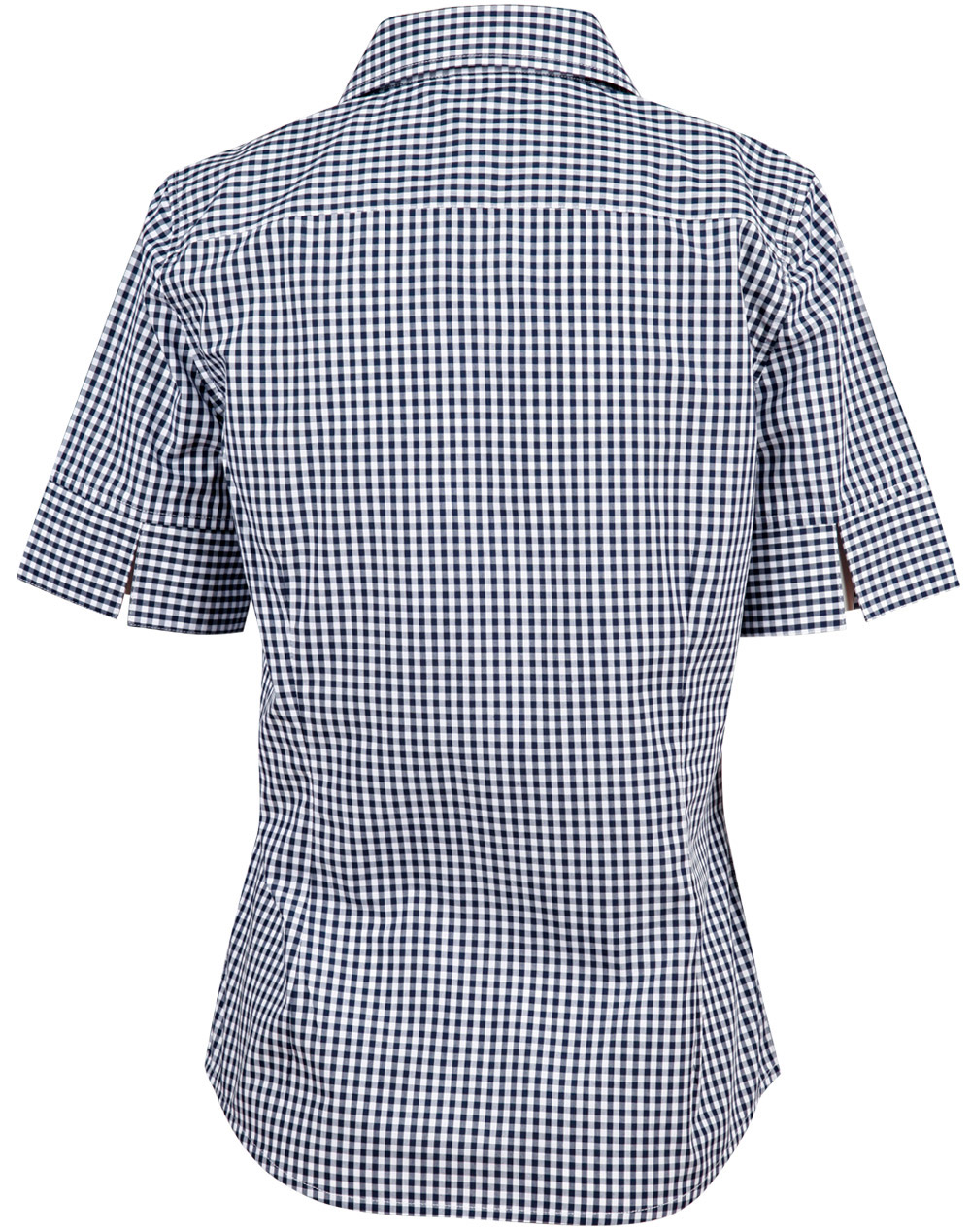 M8300s ladies gingham check short sleeve shirt for Red and white gingham shirt women s